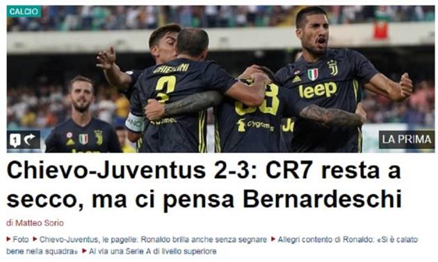 Báo chí Italia nhận xét gì về màn ra mắt Serie A của Ronaldo? - Bóng Đá