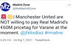 Xác nhận: Real đòi 60 triệu cho Varane, Man Utd đã có câu trả lời