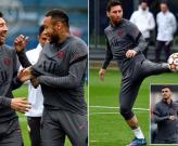 Messi cười đùa với Neymar trên sân tập