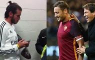 Gareth Bale kiên nhẫn đứng đợi Totti để xin chữ ký