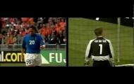 Francesco Totti hạ gục Edwin van Der Sar trên chấm 11m