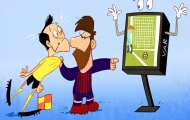 Biếm họa: Messi túm cổ trọng tài, Wenger lên đỉnh top 4