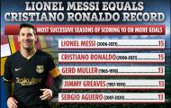 Ronaldo gọi, Messi trả lời, san bằng kỷ lục ghi bàn ở các giải VĐQG châu Âu