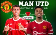 Đội hình Man Utd đấu West Ham: Ronaldo lĩnh xướng hàng công?